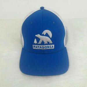 PATAGONIA Embroidered Trucker Hat Bear Moon Blue
